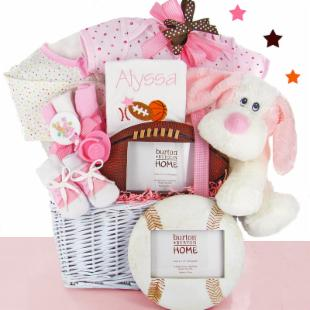 Cashmere Bunny Personalized All Star Gift Basket with Sports Frame - Girl