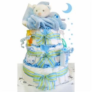 Sleepy Bear 3 Tier Diaper Cake - Boy