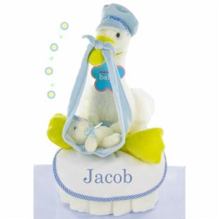 Stork Nest One Tier Diaper Cake - Boy