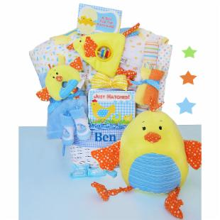 Cashmere Bunny PersonalizedJust Hatched Gift Basket - Boy