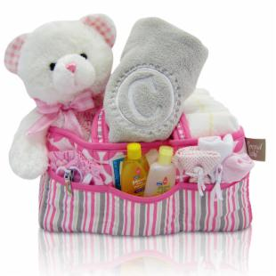 Cashmere Bunny Baby Girls First Teddy and Diaper Caddy Gift Basket