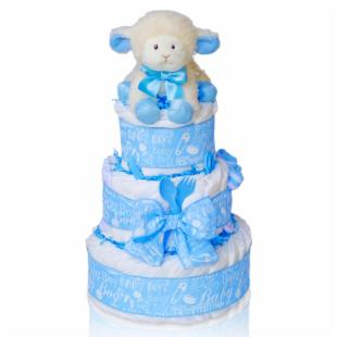 Cashmere Bunny Sweet Baby Boy Three Tier Diaper Cake Gift Basket