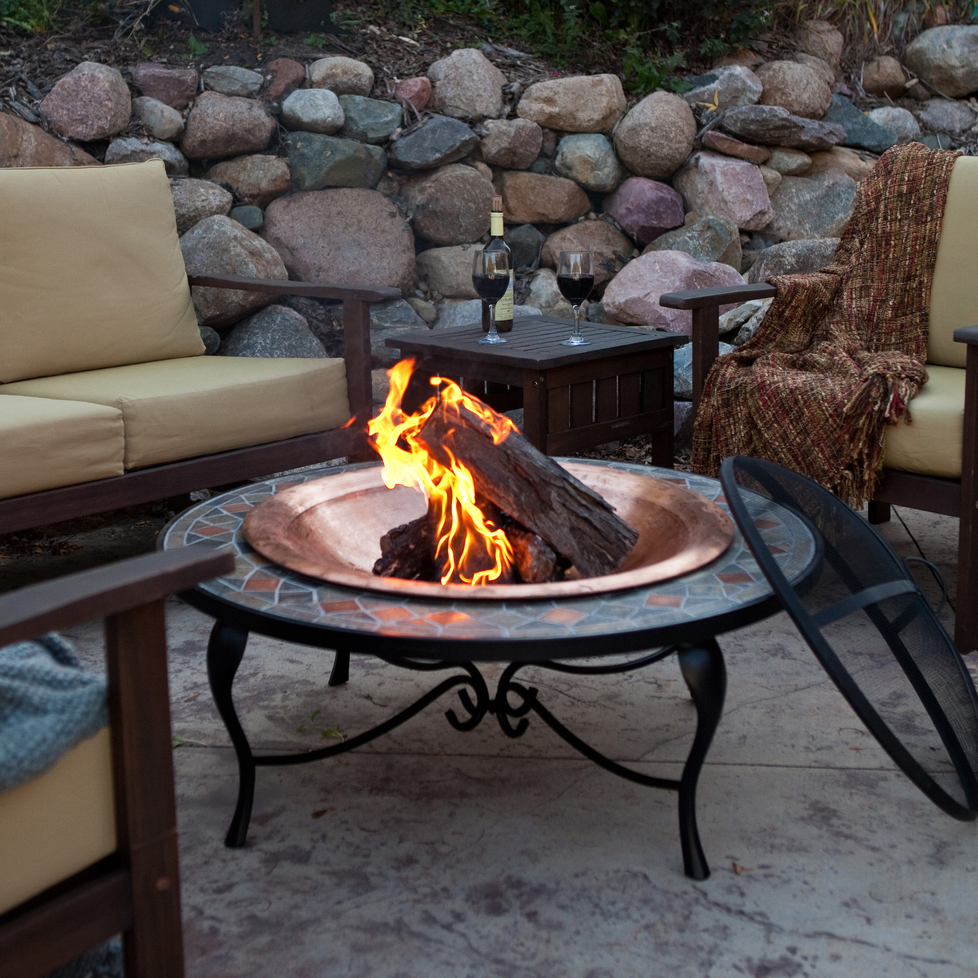 Red Ember Mosaic 40 Inch Surround Fire Pit With Copper