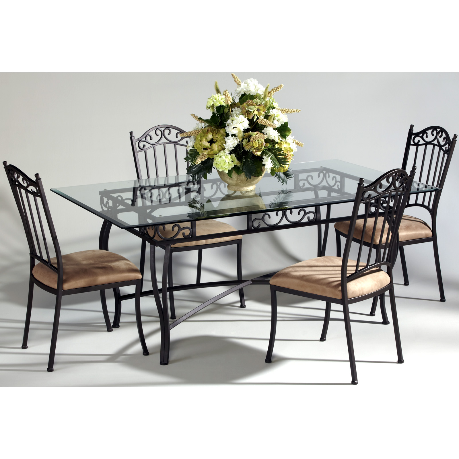 Chintaly Bethel Rectangular Wrought Iron Dining Table With