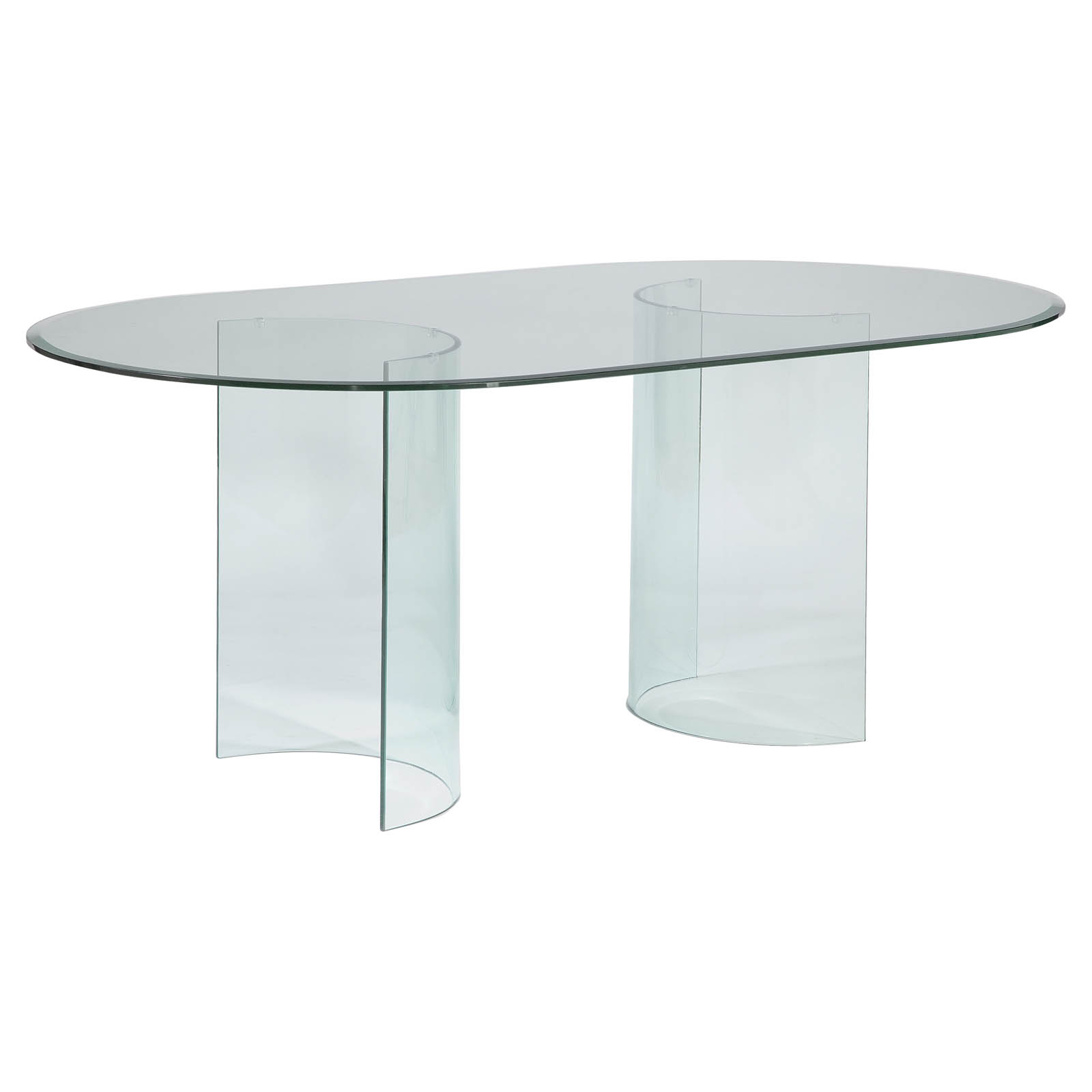 Chintaly carmel oval dining table with glass top dining for Oval glass dining table
