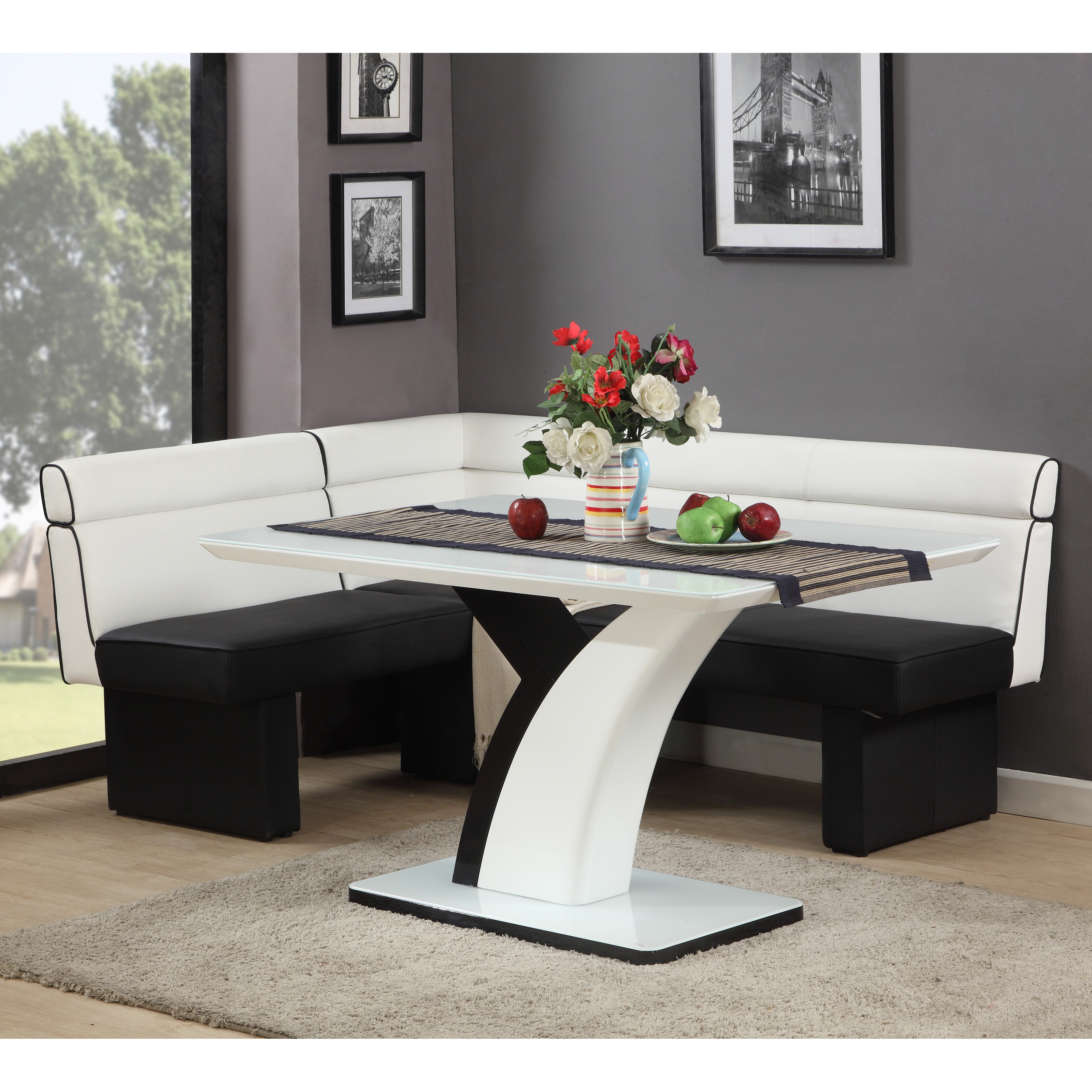 Corner Bench Kitchen Table Set A Kitchen And Dining Nook: Chintaly Natasha Nook Dining Set