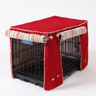Simply Red with Sierra Cool Blue - Double Door Crate Cover