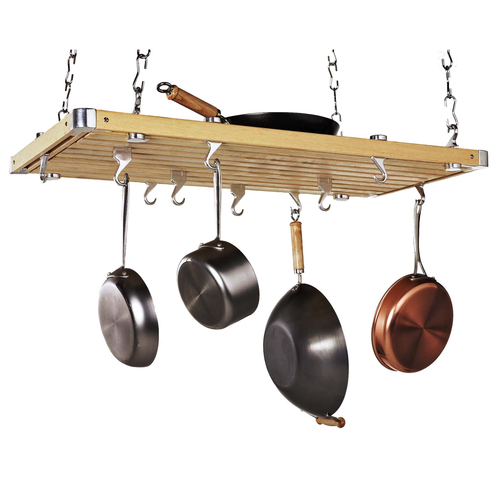 Wood rectangular ceiling kitchen pot rack pot racks at for Pot racks for kitchen