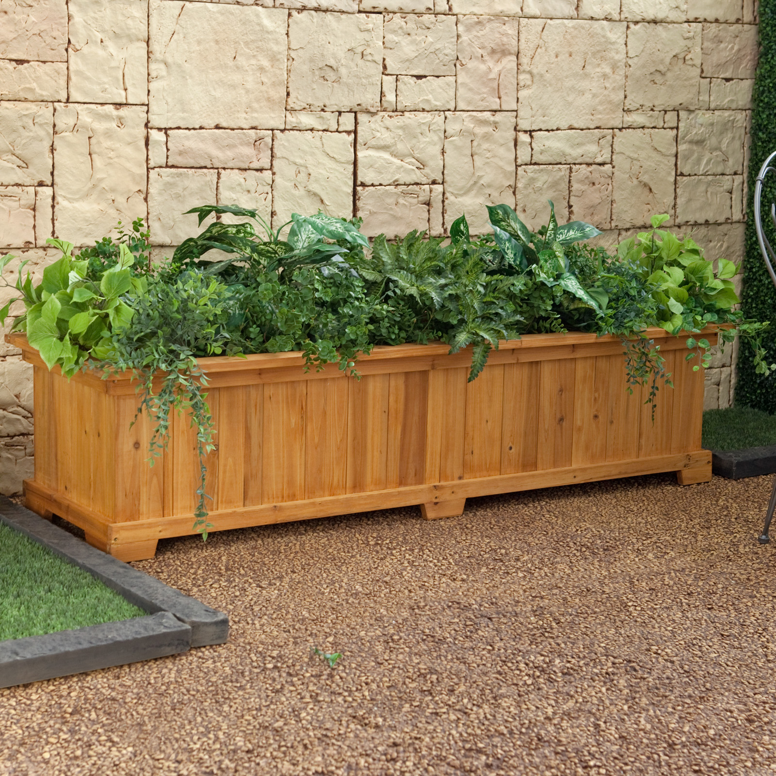 coral coast rectangular cedar wood aster patio planter box at hayneedle. Black Bedroom Furniture Sets. Home Design Ideas