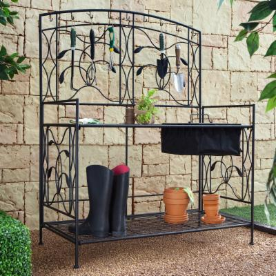 Oversized! Willow Creek Metal Potting Bench - Black
