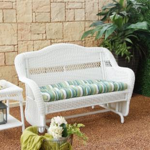 Casco Bay Resin Wicker Double Glider with Optional Cushion 