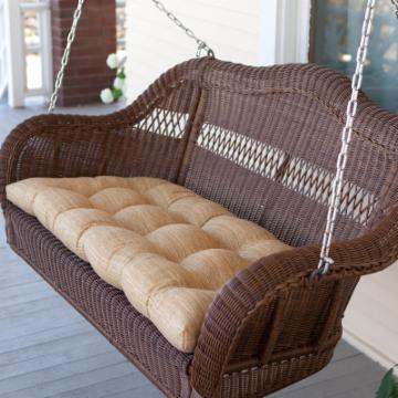 Casco Bay Resin Wicker Porch Swing - Walnut