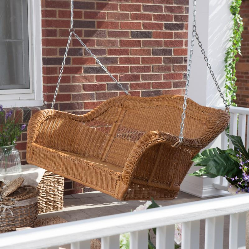 Coral Coast Casco Bay Resin Wicker Porch Swing Numerous Finish and Color Choices FREE Shipping!