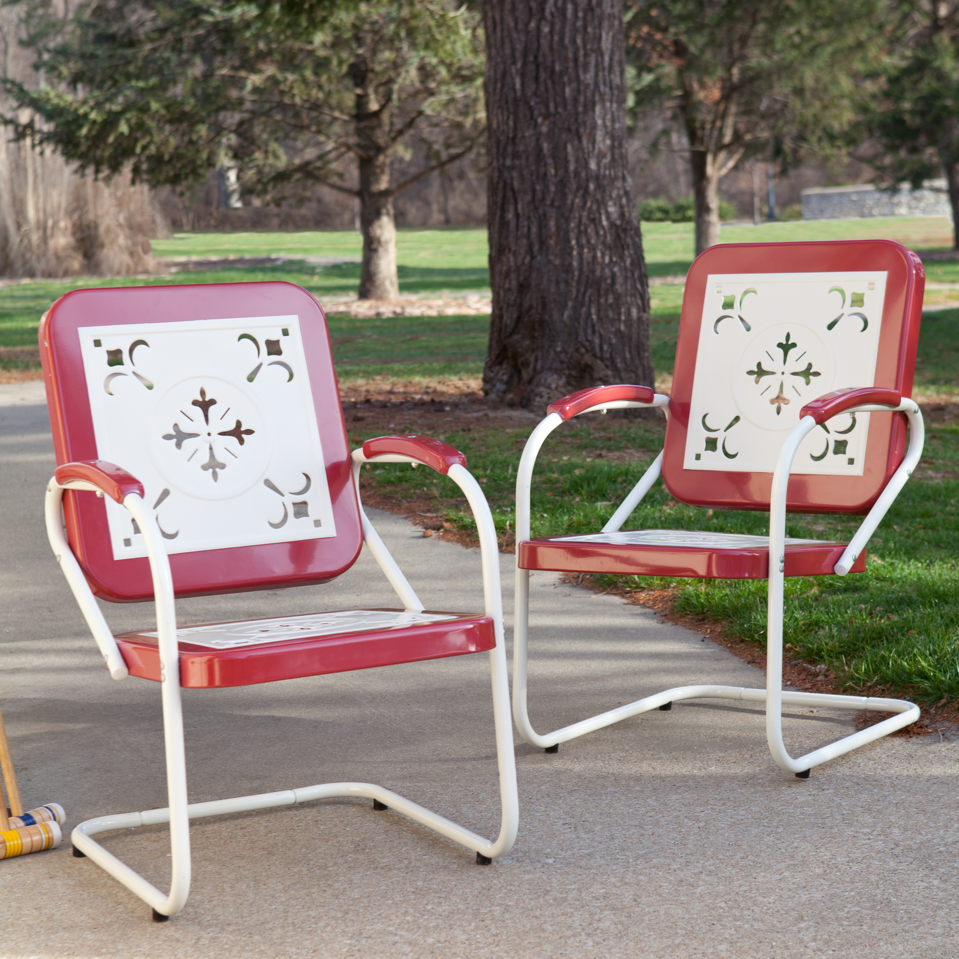 Coral Coast Paradise Cove Retro Metal Arm Chairs Set Of