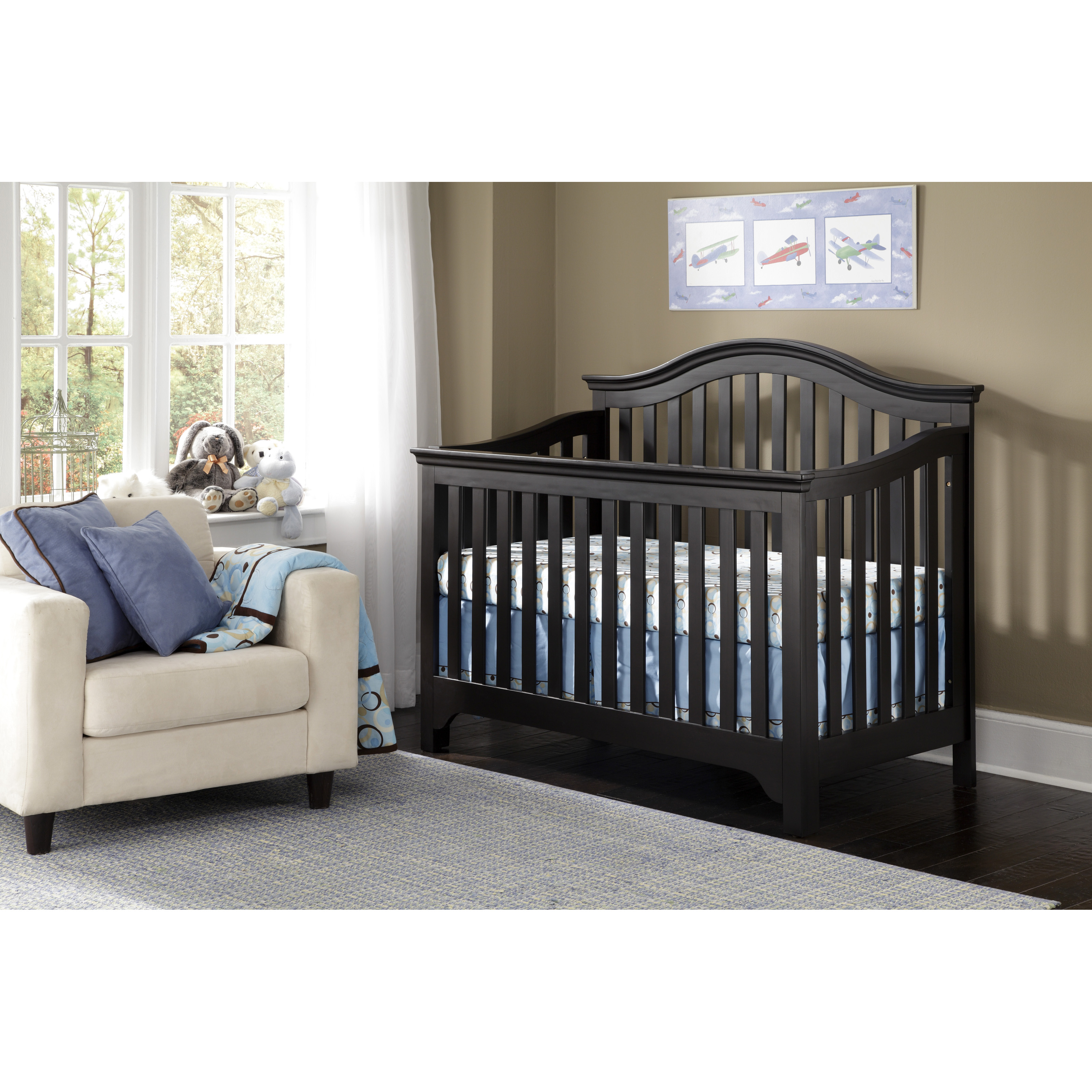 Baby Crib Black Davinci 4 In 1 Convertible Wood Baby Crib W Toddler Rail In Traditional Cribs