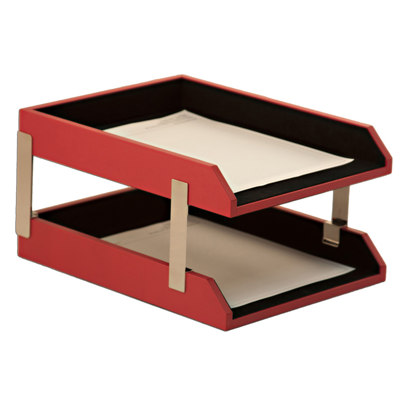 Dacasso double red leather letter trays with stacking for Decorative stacking letter trays