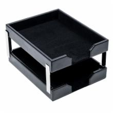  Dacasso Double Econo-Line Black Leather Letter Trays