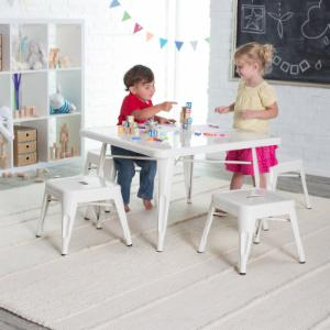 Classic Playtime Square Metal Table with Optional Stools - White