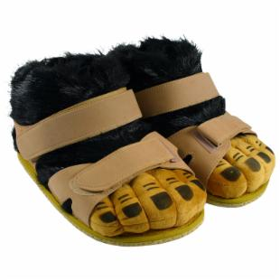 Comfy Feet Hairy Feet Black/Tan Slippers