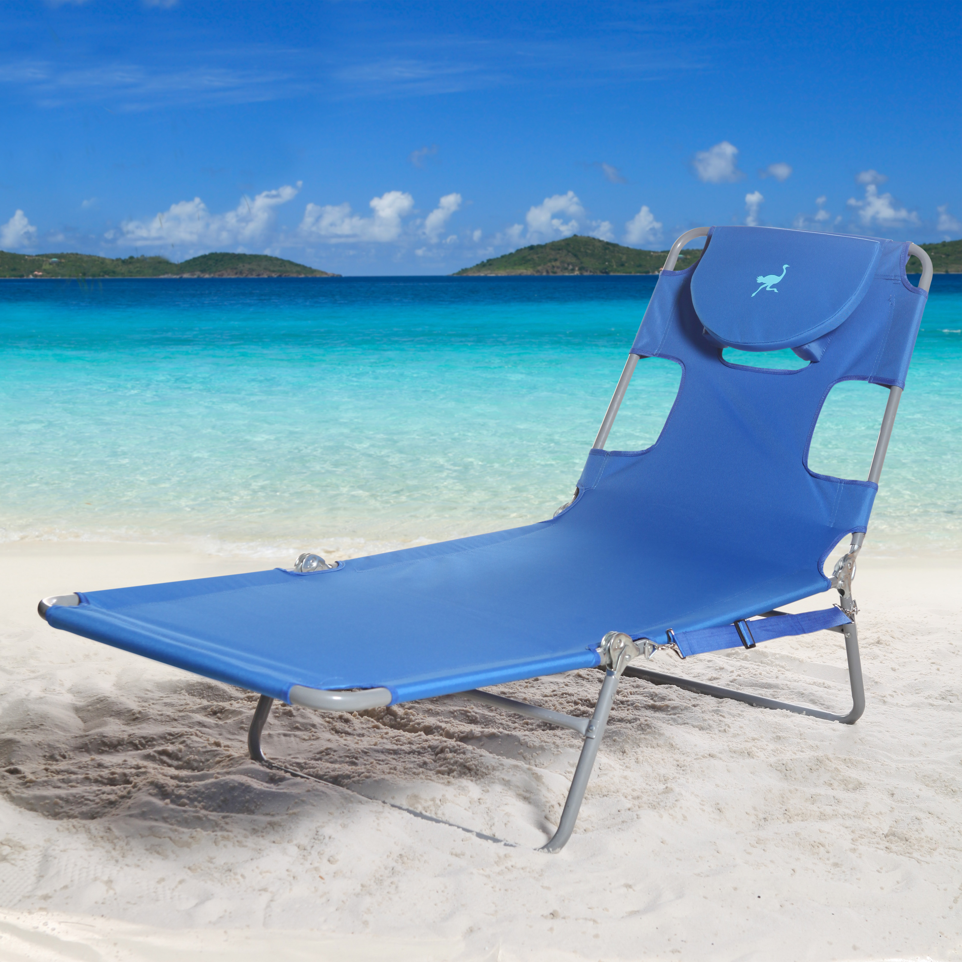 Ostrich folding chaise lounge with free towel beach for Beach chaise lounge