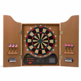 Arachnid Walnut Electronic Dart Board with Cabinet