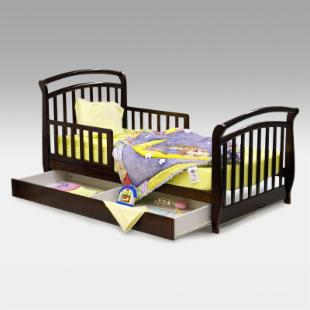 Dream On Me Deluxe Sleigh Toddler Bed with Drawer - Black