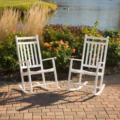 Pair of Dixie Seating Indoor/Outdoor Slat Rocking Chairs - White