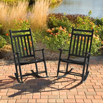 Pair of Dixie Outdoor Black Slat Rocking Chairs
