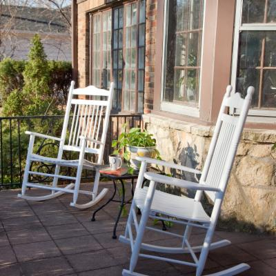 Pair of Dixie Seating Indoor/Outdoor Spindle Rocking Chairs - White
