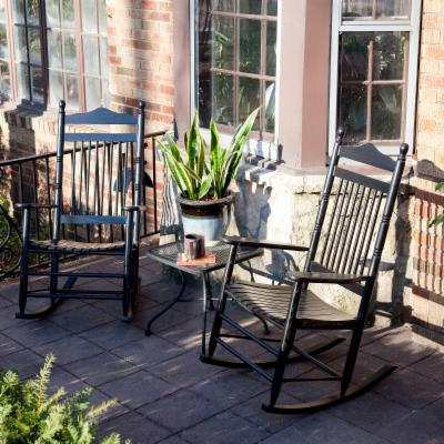  Pair of Dixie Outdoor Black Spindle Rocking Chairs
