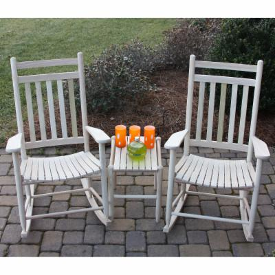 Dixie Outdoor Slat Rocking Chair Set with FREE Side Table   Unfinished