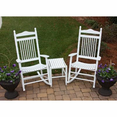 Dixie Outdoor Spindle Rocking Chair Set with FREE Side Table   White