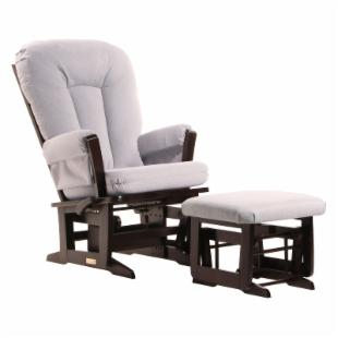 Dutailier Modern Glider - Espresso and Light Grey Fabric