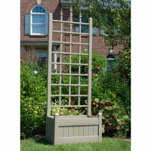 Dura-Trel 5-Foot Mocha Rectangle Vinyl Camelot Planter Box with Trellis