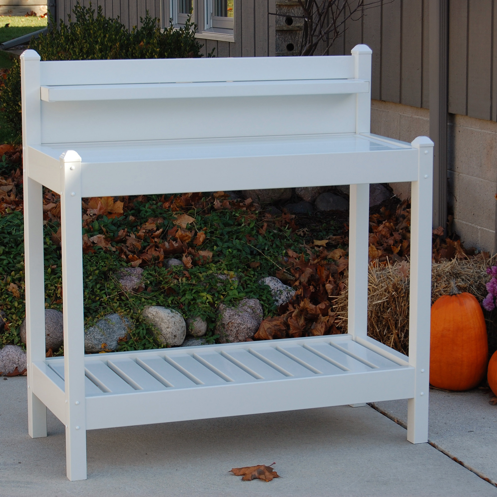 Dura trel vinyl greenfield potting bench white potting benches at hayneedle Outdoor potting bench