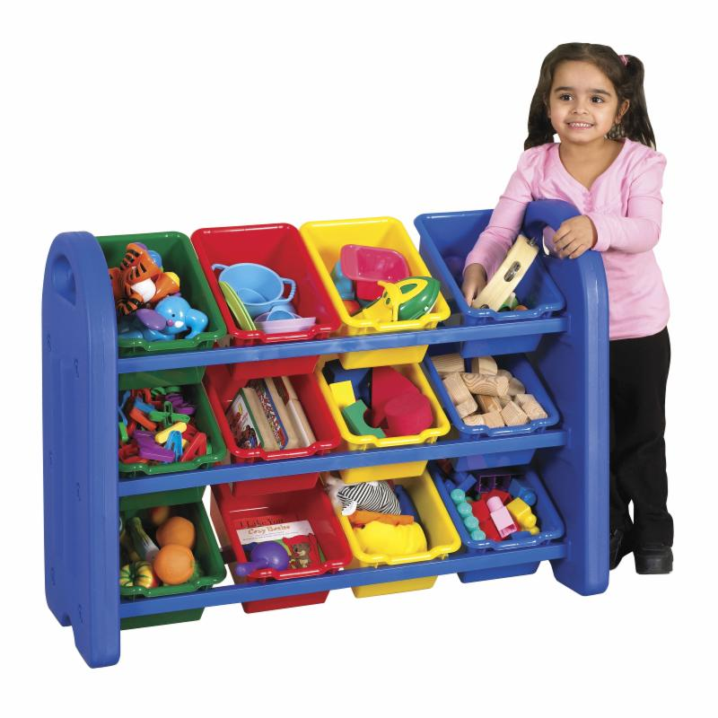 ECR4KIDS 3 Tier Toy Storage Organizer-12 Bins-Blue-Red-Yellow-Green