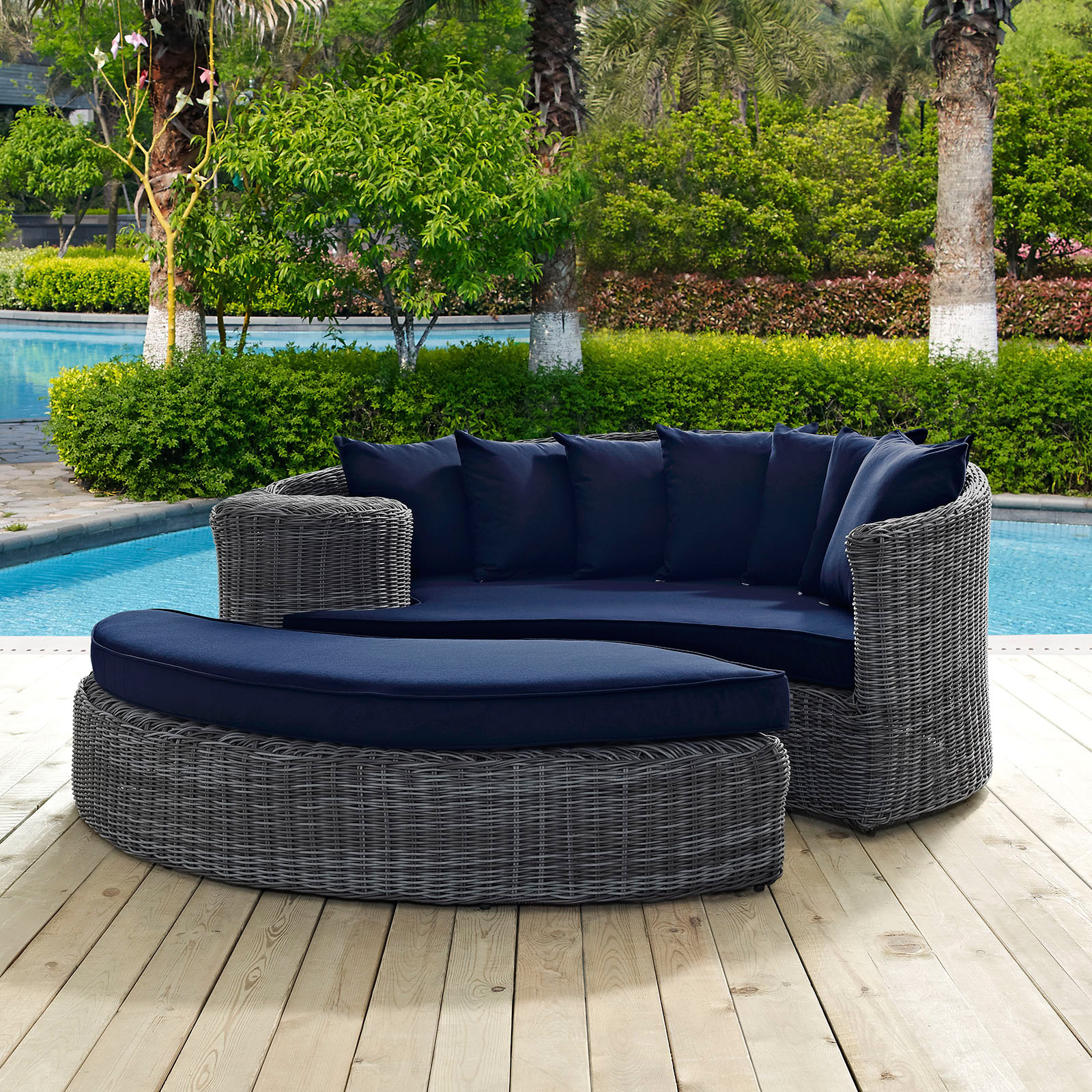 Modway Summon Wicker 2 Piece Outdoor Daybed Set Outdoor