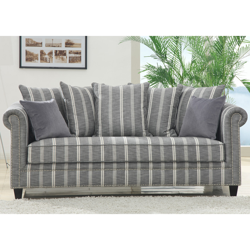 Emerald Home Maddox Grey Striped Sofa With 2 Pillows At Hayneedle
