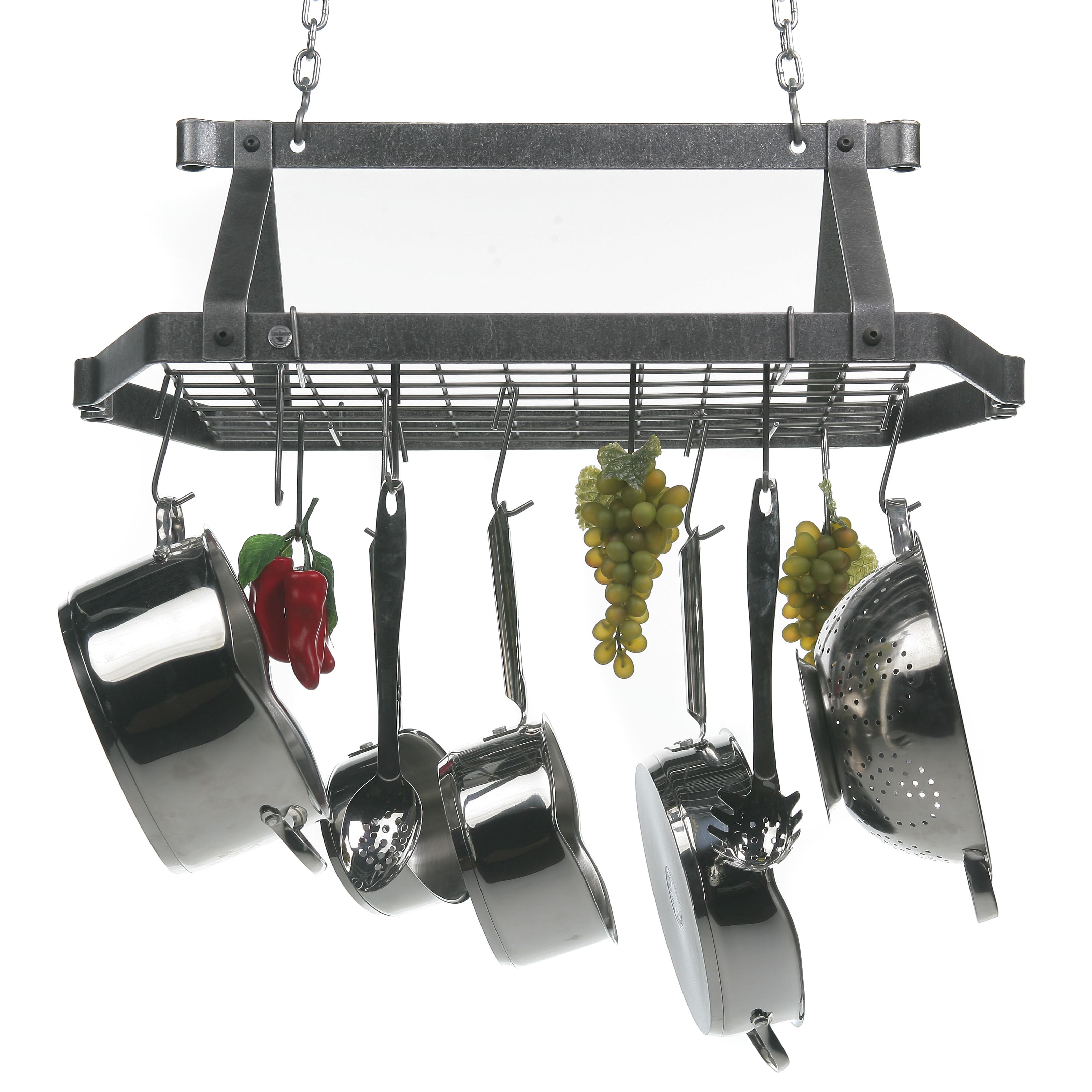 Decor retro rectangle kitchen pot rack pot racks at for Pot racks for kitchen