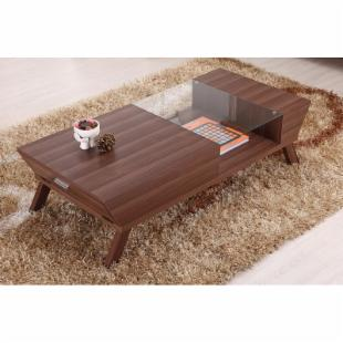 Baxter Modern Glass Top Coffee Table - Medium Wood