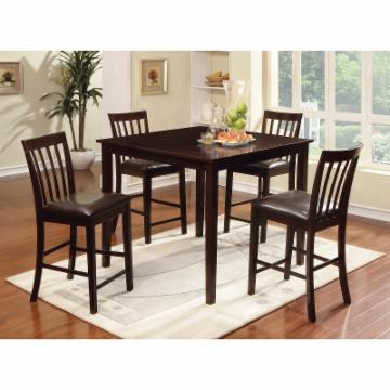 Furniture of America Robelle Counter Height Slat Back Dining Table Set Espresso