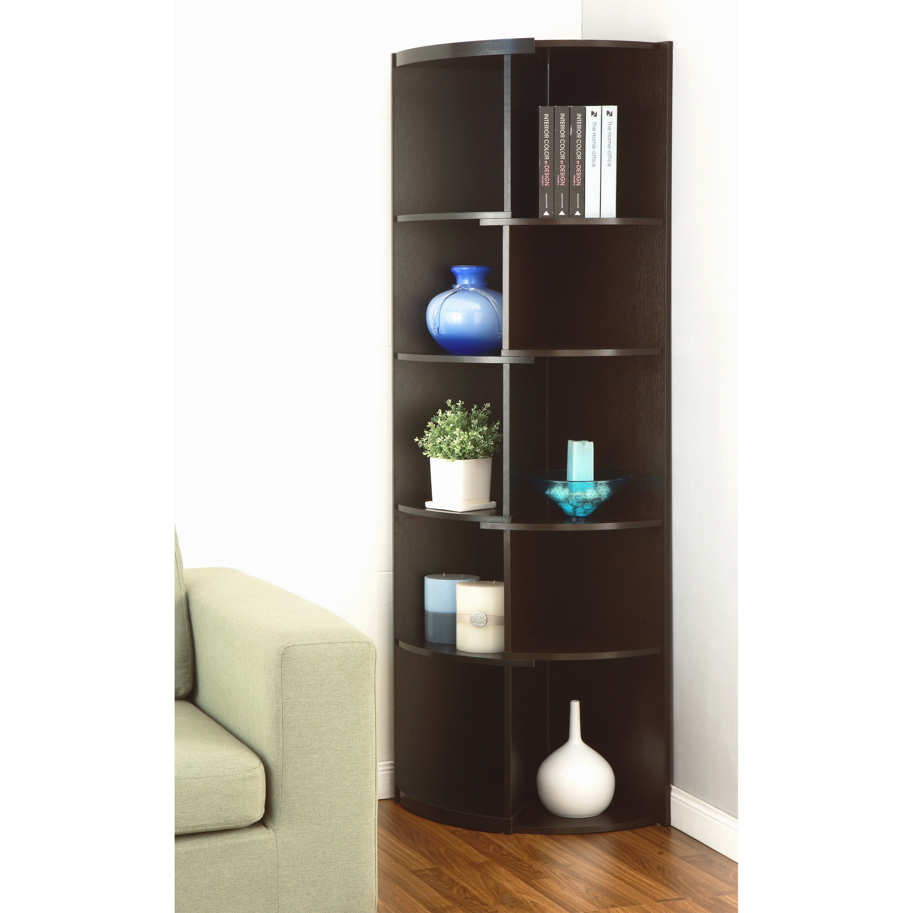 Corner Exhibition Stands S : Chronos expandable duotone corner display stand bookcase