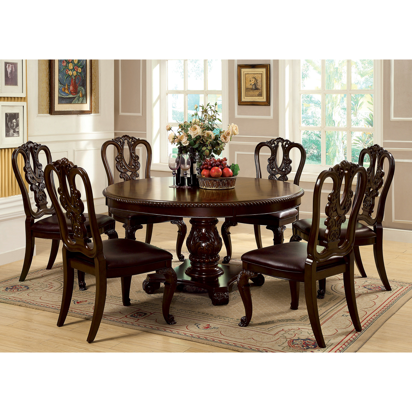 piece round dining set with wooden chairs brown cherry dining