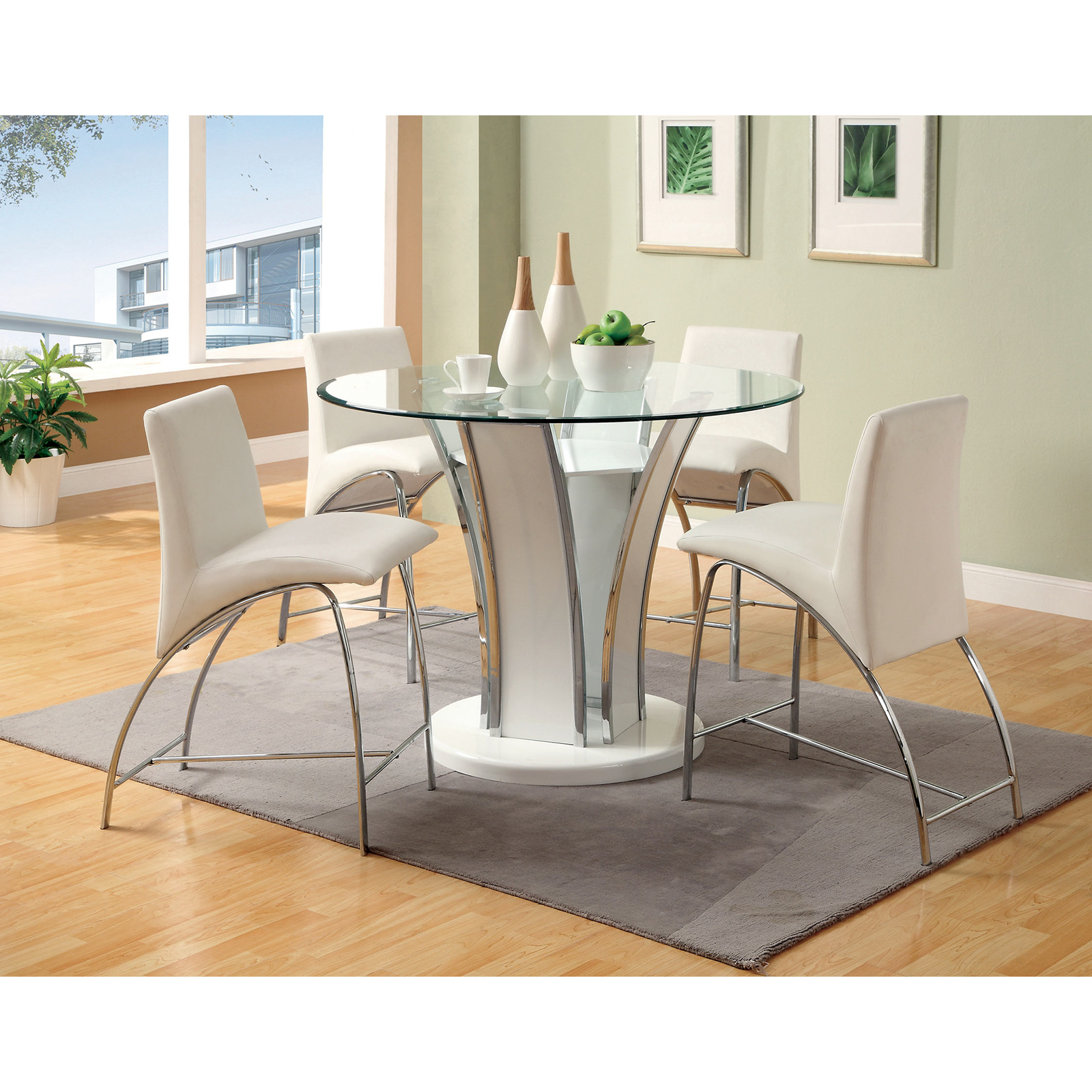 Counter Height Glass Dining Table Set : ... Piece Counter Height Round Glass top Dining Set - White at Hayneedle