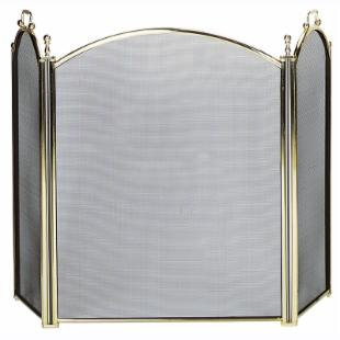 Uniflame 3 Panel Woven Mesh Deluxe Plated Fireplace Screen
