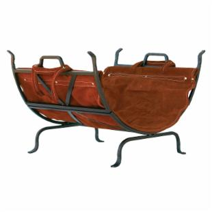 Uniflame Iron Fireplace Log Rack with Suede Leather Carrier
