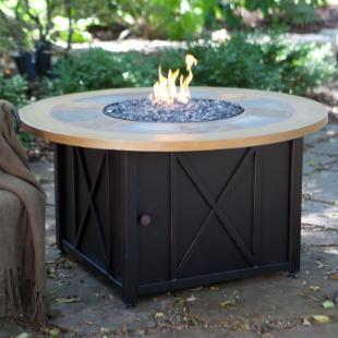 UniFlame 46-in. Round LP Gas Outdoor Firebowl with Slate and Faux Wood Mantel
