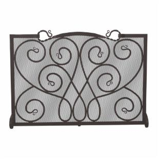 Uniflame Single Panel Black Wrought Iron Ornate Screen