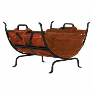 Uniflame Black Wrought Iron Log Holder with Leather Carrier