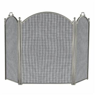 3 Panel Satin Pewter Large Diameter Folding Screen
